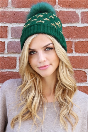S2-5-2-ALB7812GR GREEN BEANIE WITH EMBROIDERED STARS/6PCS