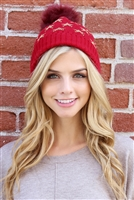 S2-5-2-ALB7812RD RED BEANIE WITH EMBROIDERED STARS/6PCS