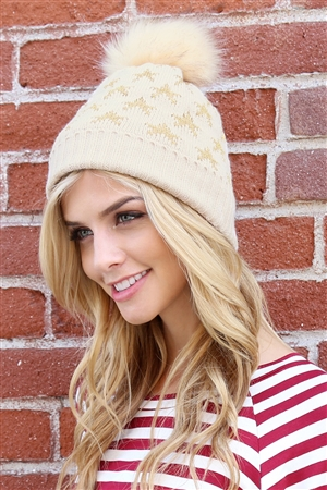 S2-5-2-ALB7812TP TAUPE BEANIE WITH EMBROIDERED STARS/6PCS