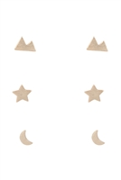 B-6-3-LEA368GD - 3 PAIR SET MOON STAR STUD EARRINGS-GOLD/6PCS