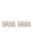 S24-2-4-LEA855GDCRY-MAMA CUBIC ZIRCONIA POST EARRINGS-GOLD/6PCS
