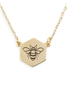 S6-4-3-LNB265GDBLK - BEE STAMPING PENDANT NECKLACE - GOLD/6PCS