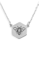S6-4-3-LNB265RHBLK-BEE STAMPING PENDANT NECKLACE-SILVER/6PCS