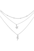 S17-12-3-LNB346RH-SILVER 3 LAYERED STAR AND LIGHNING NECKLACE/6PCS