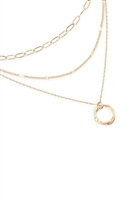 S25-4-1-LNB473MG - MULTI LAYER CHAIN W/ ROUND NECKLACE-GOLD/6PCS