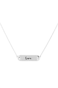 "SA4-2-2-LNB854LORH - ""LOVE"" CLIP BAR NECKLACE - SILVER/6PCS"