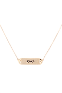 "S1-8-3-LNB854XOGD - ""XOXO"" CLIP BAR NECKLACE - GOLD/6PCS"