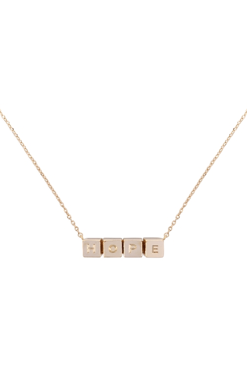 S1-7-3-LNB868HOGD - HOPE CUBE CHAIN NECKLACE - GOLD/6PCS