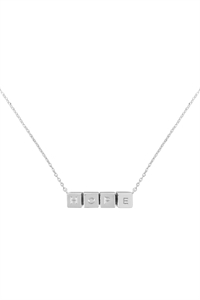 S1-7-1-LNB868HORH - HOPE CUBE CHAIN NECKLACE - SILVER/6PCS
