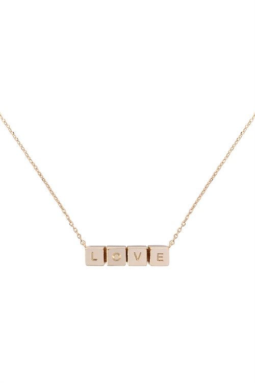 S1-6-2-LNB868LOGD - LOVE CUBE CHAIN NECKLACE - GOLD/6PCS