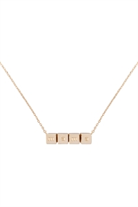 S1-7-4-LNB868MAGD - MAMA CUBE CHAIN NECKLACE - GOLD/6PCS