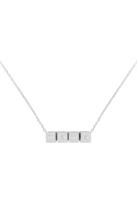 S1-8-3-LNB868MARH - MAMA CUBE CHAIN NECKLACE - SILVER/6PCS