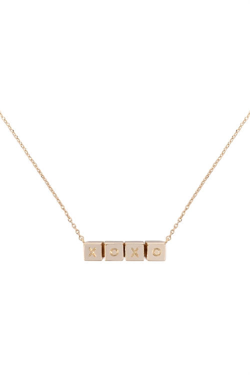 S1-8-4-LNB868XOGD - XOXO CUBE CHAIN NECKLACE - GOLD/6PCS
