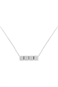 S1-6-3-LNB868XORH - XOXO CUBE CHAIN NECKLACE - SILVER/6PCS