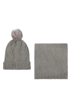 S2-8-1-ALY3621GR GRAY KNITTED BEANIE WITH POM MATCHING SCARF SET/6SETS