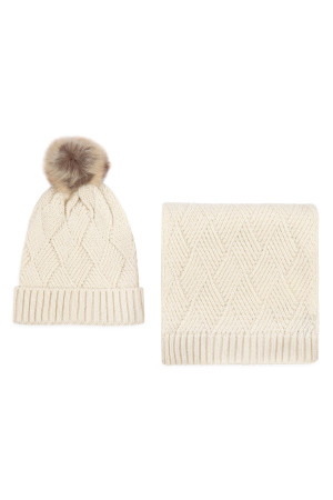 S2-8-1-ALY3621IV IVORY KNITTED BEANIE WITH POM MATCHING SCARF SET/6SETS