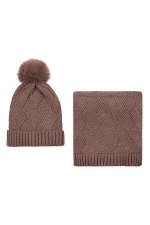 S2-8-1-ALY3621TP TAUPE KNITTED BEANIE WITH POM MATCHING SCARF SET/6SETS