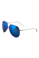 S17-1-5-M3663-CM-RIMLESS COLOR MIRROR SPRING HINGE AVIATORS WHOLESALE BULK SUNGLASSES/12PCS