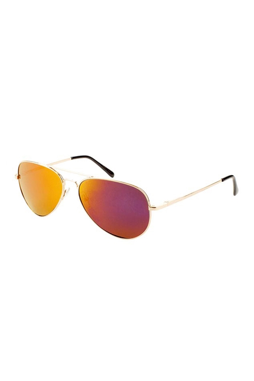 S1-8-2-M6258-SP-GOLD-GL-CM - COLORED MIRROR AVIATOR SUNGLASSES /12PCS