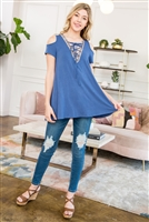 C62-A-1-M7561-BL-3 - COLD SHOULDER LACE UP TOP WITH JACQUARD TAPE TRIM- BLUE 4-2-0