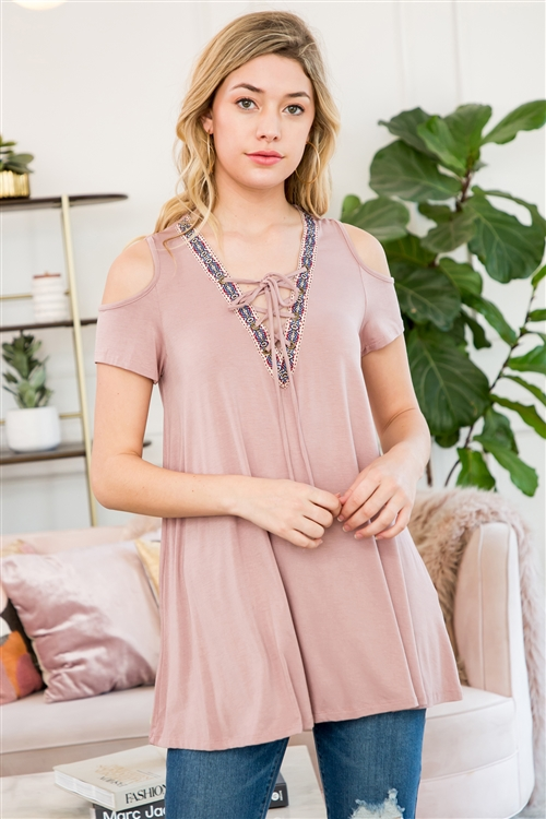 C44-A-1-M7561-MV-1 - COLD SHOULDER LACE UP TOP WITH JACQUARD TAPE TRIM- MAUVE 3-2-0