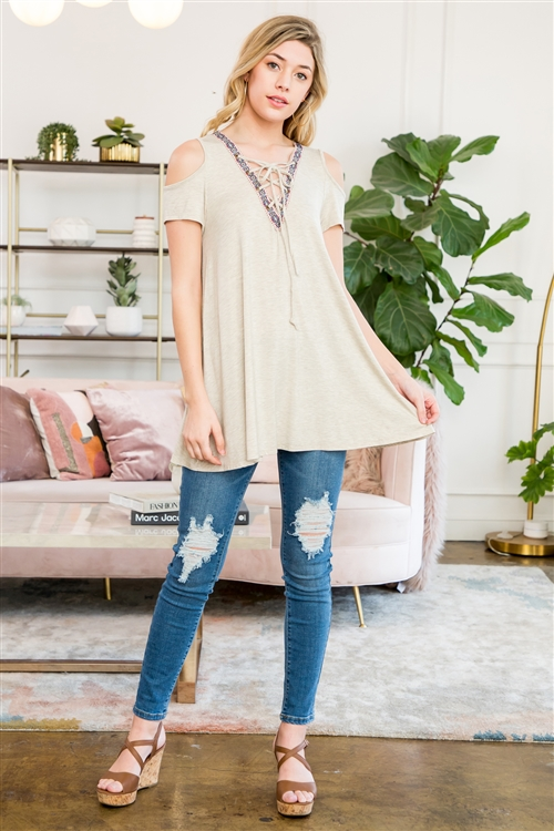 C54-A-1-M7561-OTM-1 - COLD SHOULDER LACE UP TOP WITH JACQUARD TAPE TRIM- OATMEAL 2-3-0