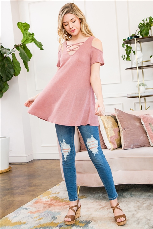 C68-A-1-M7571-MV-1 - SPACE DYE JERSEY COLD SHOULDER TOP WITH CAGE DETAIL- MAUVE 3-1-0