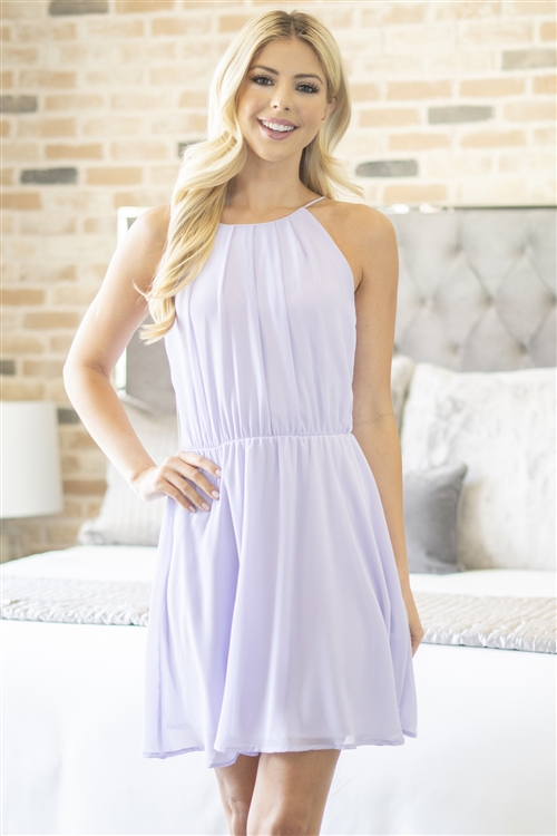 C24-A-1-M7785-LVD-2 - PLEATED SUMMER SPAGHETTI STRAP DRESS- LAVENDER 2-2