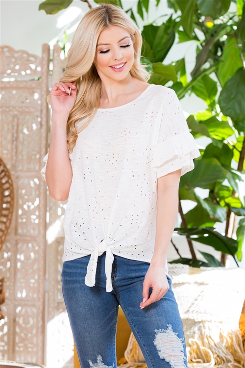 C70-A-1-M8269-WT-2 - DISTRESSED RUFFLED SHORT SLEEVE TIE FRONT TOP- WHITE 3-0-0
