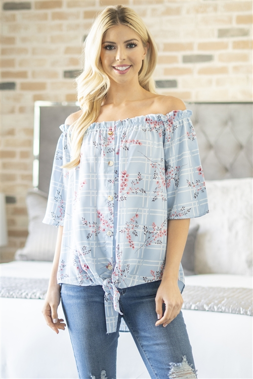 S10-15-2-M8373-BL-2 - OFF SHOULDER FLOWER AND BUTTON DOWN DETAIL TOP- BLUE 3-0-1