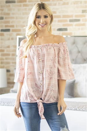 S10-15-1-M8373-PK-3 - OFF SHOULDER FLOWER AND BUTTON DOWN DETAIL TOP- PINK 3-2-0-0