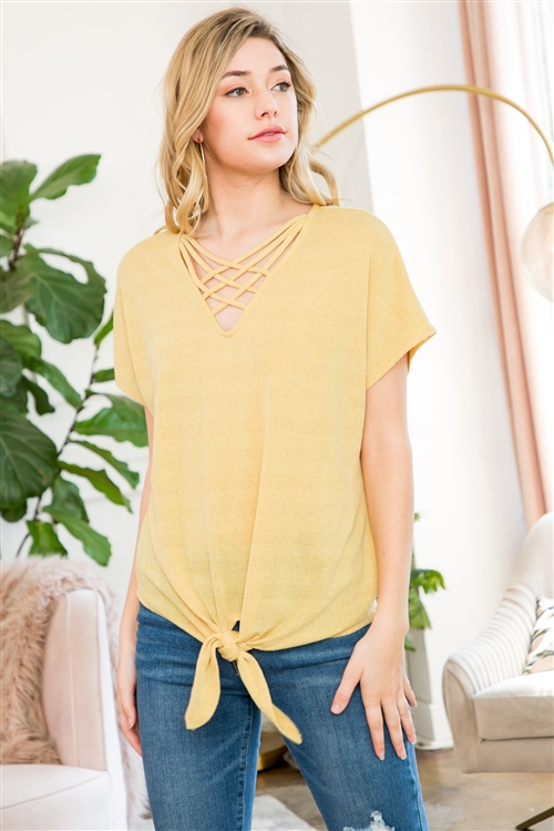 C58-A-1-M9382-MU-2 - FRONT CAGE DETAIL SHORT SLEEVE TOP WITH SELF-TIE- MUSTARD 4-0-0