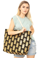 S29-2-5-MB0028BK - GOLD FOIL PINEAPPLE BEACH BAG BLACK/6PCS