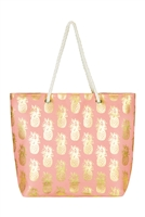 S29-2-5-MB0028CO - GOLD FOIL PINEAPPLE BEACH BAG CORAL/6PCS