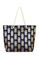 S29-2-5-MB0028NV - GOLD FOIL PINEAPPLE BEACH BAG NAVY/6PCS