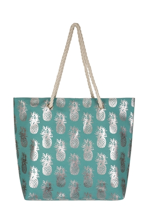 S18-5-3-MB0028TQ- PINEAPPLE GLITTER BEACH BAG - TURQUOISE/6PCS