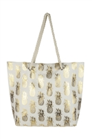 S29-2-5-MB0028WH - GOLD FOIL PINEAPPLE BEACH BAG WHITE/6PCS