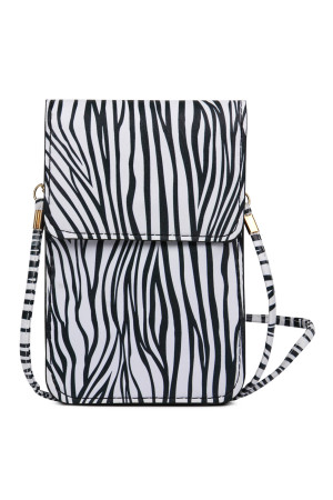 SA4-3-1-AMB0052 ZEBRA CELLPHONE CROSSBODY WITH CLEAR WINDOW/6PCS