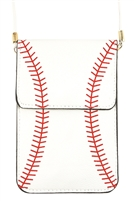 S7-4-1-AMB0055 BASEBALL CELLPHONE CROSSBODY WITH CLEAR WINDOW POUCH/6PCS