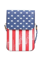 SA4-3-1-AMB0059 AMERICAN FLAG CELLPHONE CROSSBODY WITH CLEAR WINDOW POUCH/6PCS