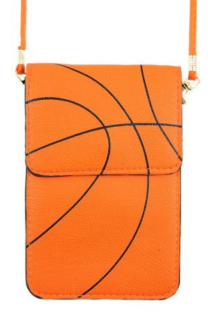 S7-5-1-AMB0061 BASKETBALL CROSSBODY WITH CLEAR WINDOW CELLPHONE BAG/6PCS