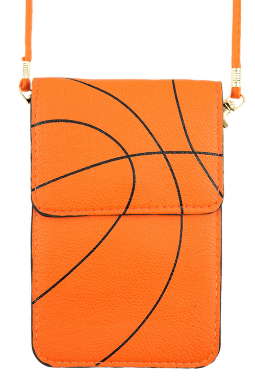 A1-1-2-AMB0061 BASKETBALL CROSSBODY WITH CLEAR WINDOW CELLPHONE BAG/6PCS