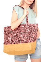 S29-8-3-MB0082CO - LEOPARD  PRINT JUTE TOTE BAG CORAL/6PCS