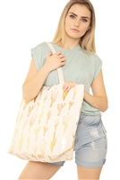 S29-6-1-MB0084WH- CACTUS FOIL BEACH BAG - GOLD WHITE/6PCS