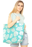 S18-6-4-MB0085TQ - SILVER FOIL TROPICAL LEAVES BEACH BAG - TURQUOISE/6PCS