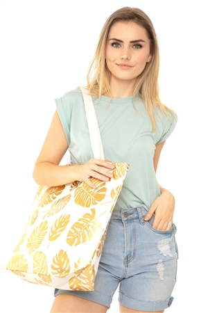 S18-6-4-MB0085WH- TROPICAL FOIL LEAVES BEACH BAG - GOLD WHITE/6PCS