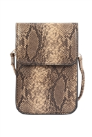 S23-6-3-MB0115BE-SNAKE SKIN CELLPHONE CROSSBODY WITH CLEAR WINDOW BAG-BEIGE/6PCS
