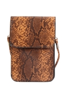 S23-6-3-MB0115BR-SNAKE CELLPHONE CROSSBODY WITH CLEAR WINDOW BAG-BROWN/6PCS