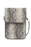 S23-6-3-MB0115GR-SNAKE CELLPHONE CROSSBODY WITH CLEAR WINDOW BAG-GRAY/6PCS