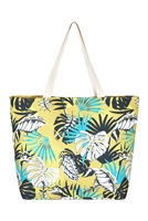 S28-1-5-MB0119 - TROPICAL LEAVES TOTE BAG /6PCS